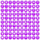 100 childhood icons set purple. 100 childhood icons set in purple circle isolated on white vector illustration Royalty Free Stock Image