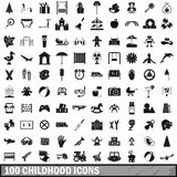 100 childhood icons set, simple style. 100 childhood icons set in simple style for any design vector illustration Royalty Free Stock Images