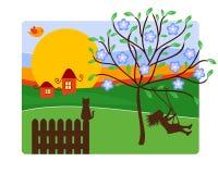Childhood Illustration. Childhood vector illustration with girl on cradle and village landscape Stock Images