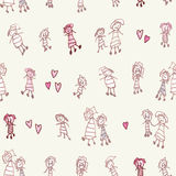 Childhood imaginary friends with three legs drawing as seamless pattern Stock Photography