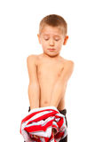 Childhood independence concept - little boy dressing up Royalty Free Stock Photo