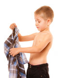 Childhood independence concept - little boy dressing up. Shirt Royalty Free Stock Photography