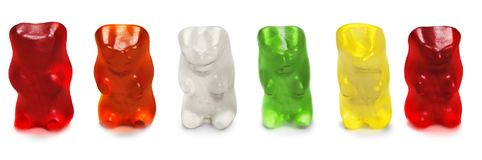 Childhood and jelly bears candies isolated on. Childhood jelly candies bears green color red stock photography