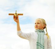 Childhood - kid with airplane toy, freedom concept Royalty Free Stock Photos