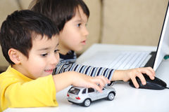 Childhood, laptop, learning Stock Photography