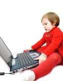 Childhood, laptop, learning Stock Photo