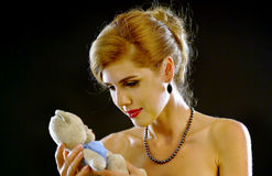 Childhood memories of nude shoulders woman. Stock Images