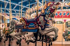 Merry go round Carousel vintage horse close up royalty free stock photography