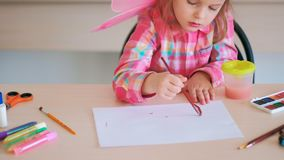 Childhood moments drawing hobby talented girl Royalty Free Stock Photo