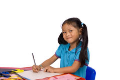 Childhood Painting. A young girl draws a picture. Family, love, bonding, education Royalty Free Stock Photos