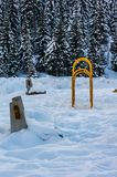 Childhood park covered by snow. On the mountain Igman Stock Photos