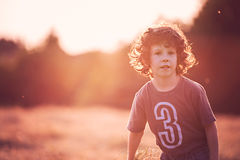 Childhood  - Playing on the filed in sunset Royalty Free Stock Photography