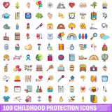 100 childhood protection icons set, cartoon style. 100 childhood protection icons set. Cartoon illustration of 100 childhood protection vector icons isolated on royalty free illustration