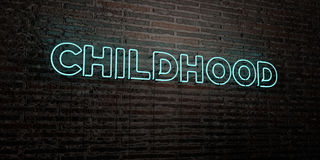 CHILDHOOD -Realistic Neon Sign on Brick Wall background - 3D rendered royalty free stock image. Can be used for online banner ads and direct mailers Stock Photo