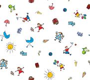 Childhood seamless background Stock Images