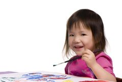 Childhood Series (Painting with a smile) Royalty Free Stock Photos