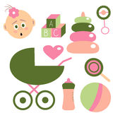 Childhood Set for Baby Girl. Elements about Kids. Vector. Illustration, Baby Face, Ball, Pram,  Milk Bottle, Heart, Rattle, Candy, Pyramid and Cubes with Royalty Free Stock Image