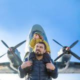 Childhood of small pilot Royalty Free Stock Photos