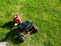 Childhood. Small red tricycle cycle toy on grass. Royalty Free Stock Photo