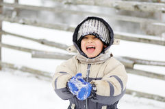 Childhood on snow Stock Photography