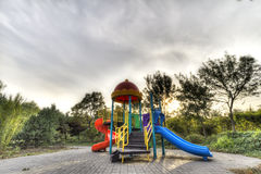 Childhood. Sunset, the silence of the park, children's play equipment reminds me of childhood Royalty Free Stock Images