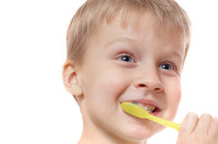 Childhood teeth hygiene Stock Photo