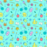 Childhood theme colorful doodle seamless pattern Stock Images