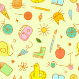 Childhood theme colorful doodle seamless pattern Royalty Free Stock Photo