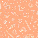 Childhood theme doodle seamless pattern Stock Photo