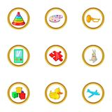 Childhood toy icon set, cartoon style. Childhood toy icon set. Cartoon set of 9 childhood toy vector icons for web isolated on white background Stock Photography