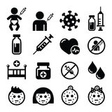 Childhood vaccinations, chicken pox icon set. Sick child, vaccinate, medical  icons set isolated on white Royalty Free Stock Photo