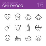 Childhood vector outline icon set Stock Images
