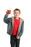 Childi with fresh fruit juice Stock Photos