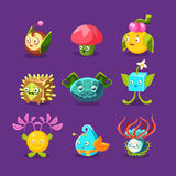 Childish Alien Fantastic Alive Plants Emoji Characters Collection Of Vector Fantasy Vegetation Stock Photography