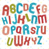 Childish alphabet, children style colorful letters with hand dra Royalty Free Stock Photo