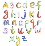 Childish alphabet with funny patterns Royalty Free Stock Photo