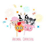 Childish Animal Masks. Cock, Pig, Cow, Sheep, Cat. Animal carnival funny childish mascarade masks with firework. Vector illustration of with pig, domesticated royalty free illustration