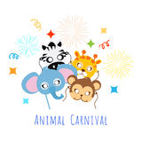 Childish Animal Masks. Elephant, Zebra, Monkey, Giraffe. Royalty Free Stock Images
