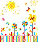 Childish applique with abstract colorful flowers Royalty Free Stock Image