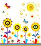 Childish applique with paper sunflowers, sun and butterflies. Childish funny applique with paper sunflowers, sun and butterflies Royalty Free Stock Photo