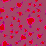 Cupid`s arrows in hearts seamless pattern on violet background. Childish arrows background for Valentine`s Day. Childish arrows background for Valentine`s Day Royalty Free Stock Photos