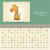 Childish baby shower card with giraffe Royalty Free Stock Image