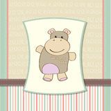 Childish baby shower card with hippo Royalty Free Stock Photos