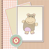 Childish baby shower card with hippo Royalty Free Stock Photography