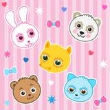 Childish Background. Cat, Panda, Fox, Bear, Rabbit. Seamless Vector Pattern. Stock Photo