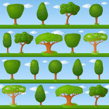 Childish background with little trees Stock Photos