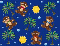 Childish background with monkeys Stock Photo