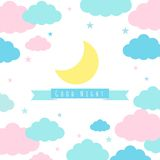 Childish background with moon clouds and stars. Moon, clouds, stars and banner for text. Childish background. Vector illustration for design vector illustration
