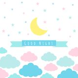 Childish background with moon clouds and stars. Moon, clouds, stars and banner for text. Childish background. Vector illustration for design stock illustration