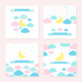 Childish background with moon clouds and stars Royalty Free Stock Images